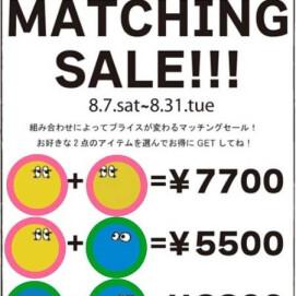 as know as de wan ENJOY  MATCHING SALE のお知らせ☆